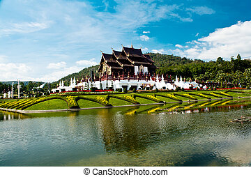 Ho kham luang in the international horticultural exposition 2011, the northern thai style building in royal flora expo,Chiang mai, Thailand