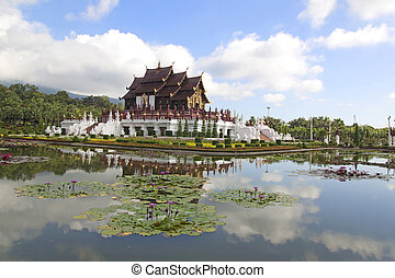 Ho kham luang northern thai style building in royal flora expo