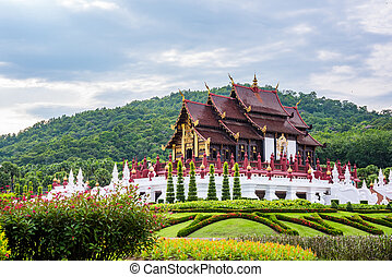 Ho kham luang traditional thai architecture in royal flora expo,Chiang mai, ThailandThailand.