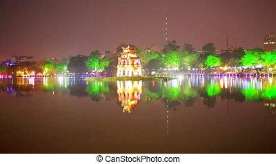 Hoan Kiem Lake and Huc Bridge, Hanoi, Vietnam