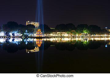 Hoan Kiem Lake at night in Hanoi