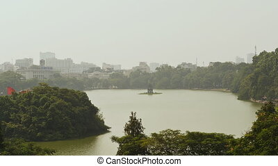 Hoan Kiem lake Sword lake, Ho Guom in Hanoi, Vietnam. - Hoan...