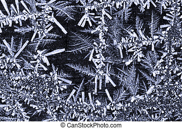 Hoar frost crystals closeup - Detailed structure of frozen...