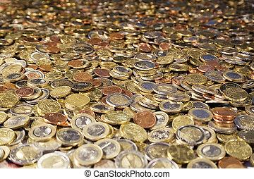 Bathtub full of Euro coins.
