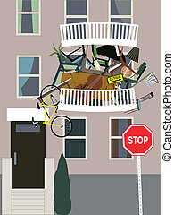 Hoarder - A balcony in an apartment building overflown with...