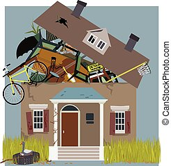 Hoarder House - A house, bursting from piles of things, ...