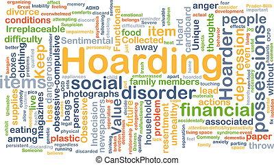 hoarding, conceito, fundo