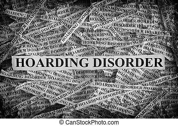 hoarding, palavras, papel, pedaços, desordem, rasgado