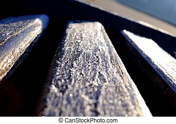 Hoarfrost on a bench
