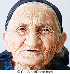 Old wrinkled woman
