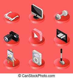 Hobbie color ioutline isometric icons set and infographics...