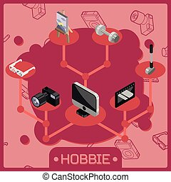 Hobbie color isometric concept. Vector illustration, EPS 10