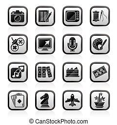 hobbies, och, fritid, ikonen