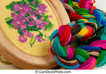 hobbies - Violet flower embroidered with silk threads