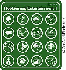 hobbies, set, pictogram