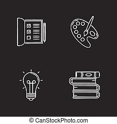 Hobby and work chalk white icons set on black background. Open notebook. Checkboxes in list. Artist palette with paint brush. Stack of books. Creative craft. Isolated vector chalkboard illustrationss