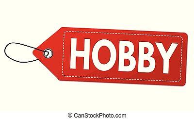 hobby, cartellino del prezzo, o, etichetta