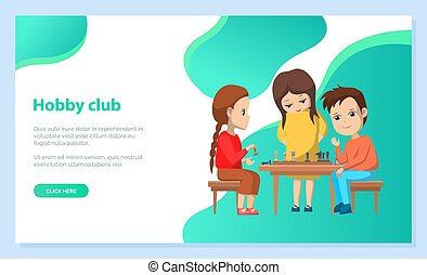 Hobby Club Kids Playing Chess Board Games Vector