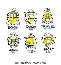 Hobby club logo design set, badges with heraldic shield, book, cooking, travel, sewing, music, sport club vector Illustrations on a white background
