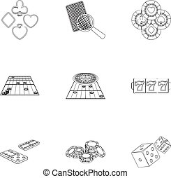 Hobby, entertainment, recreation and other web icon in outline style., Winning, excitement, casino, icons in set collection.