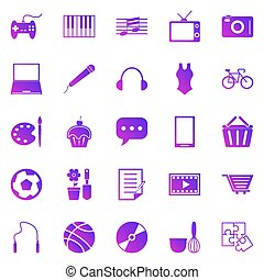 Hobby gradient icons on white background