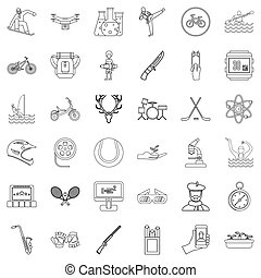 Hobby icons set, outline style