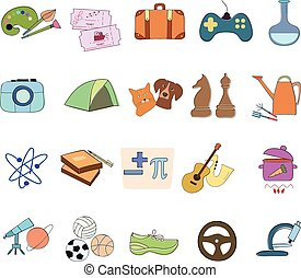 Hobby Icons vector set