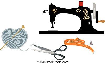 Hobby items: Sewing and knitting - Sewing machine, yarn ball...