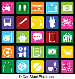 hobby, kleurrijke, iconen, op, zwarte achtergrond