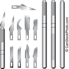 Hobby knife and blades vector set - Detailed vector ...
