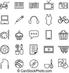 hobby, kreska, białe tło, ikony