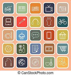 Hobby line flat icons on orange background