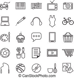 Hobby line icons on white background