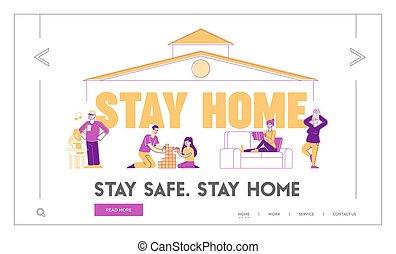 hobby, litery, exercising., yoga, sztag, czytanie, dom, interpretacja, dach, posiedzenie, strona, jaźń, różny, dom, template., dzieciaki, miły, wektor, ilustracja, lądowanie, izolacja, działalność, linearny, ludzie, pod