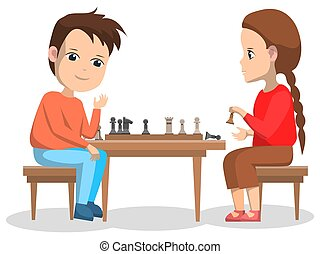 Hobby of Children, Boy and Girl Playing Chess