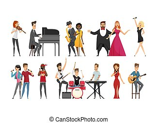 Hobby of Musician People Set Vector Illustration
