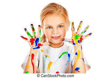 hobby paint - Portrait of a cute girl enjoying her painting....