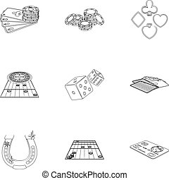 Hobby, player, debt and other web icon in outline style. Game, casino, entertainment, icons in set collection.