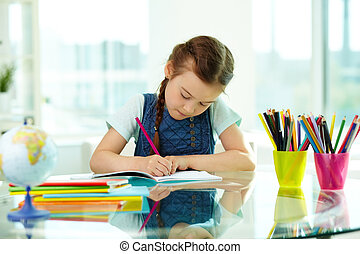 Hobby - Portrait of lovely girl drawing with colorful ...