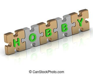 hobby, puzzel, wort, gold