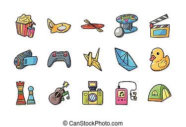 hobby, set, vrije tijd, iconen