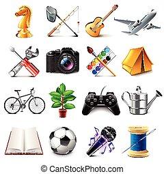 hobby, vettore, set, icone