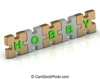 HOBBY word of gold puzzle and silver puzzle on a white background