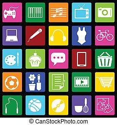 hobby, zwarte achtergrond, kleurrijke, iconen