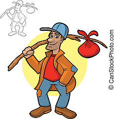 Hobo Cartoon - Illustration of a hobo holding his bindle...