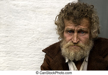 hobo in close up - homeless person with empty space for text