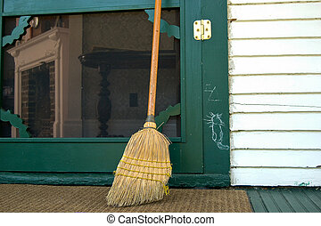 Hobo sign with old broom