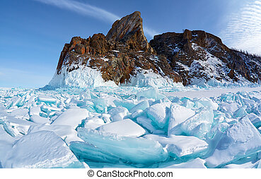 Hoboi cape on Baikal lake - Winter siberian landscape with...