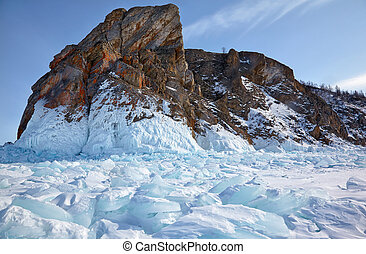 Winter siberian landscape with view on Hoboi cape - the nortern part of Olkhon island on Baikal lake