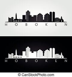 Hoboken, New Jersey skyline and landmarks silhouette